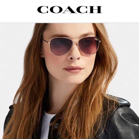 1fa3dcda1a Coach gold   tortoise aviator sunglasses. New